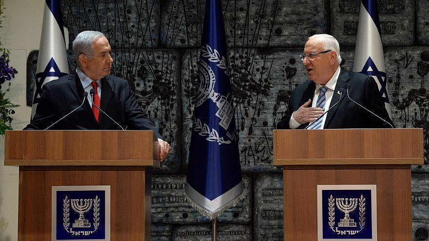 Israeli President Reuven Rivlin (right) tasks Israeli Prime Minister Benjamin Netanyahu on April 17, 2019, with forming a government coalition. Credit: Haim Zach/GPO.