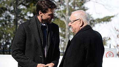 Canadian Prime Minister Justin Trudeau and Israeli President Reuven Rivlin meet in Ottawa on April 1, 2019. Credit: Mark Neiman/GPO.
