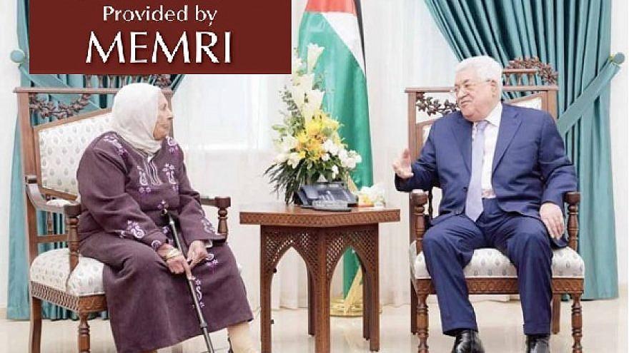 "Palestinian Authority leader Mahmoud Abbas with Karim Younis's mother (Image: ""Al-Hayat Al-Jadida,"" Nov. 19, 2019). (MEMRI)"