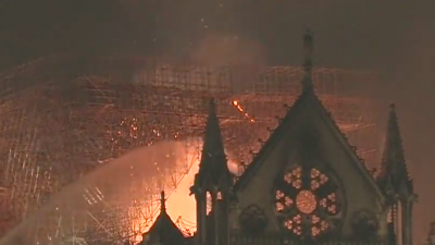 The Notre Dame Cathedral fire, April 15, 2019. Credit: Screenshot.