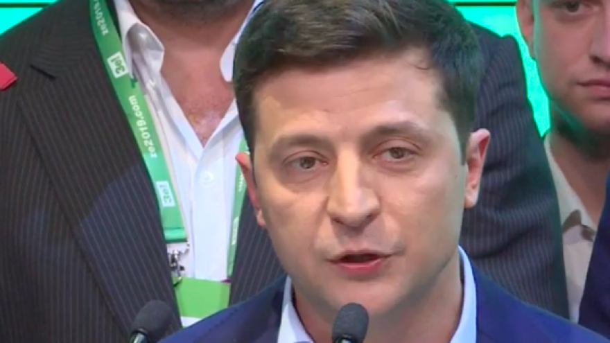 Volodymyr Zelensky gives a victory speech after being elected as Ukrainian president on April 21, 2019. Credit: Screenshot.