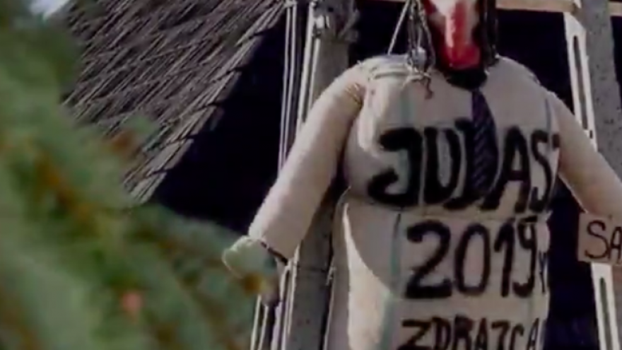 Leaders from the Polish, Catholic and Jewish communities have denounced an anti-Semitic ritual on Good Friday in the small southeastern Polish town of Pruchnik, where residents hanged, burned and beat a dummy of the apostle Judas, stereotypically described as a Jew. Credit: Screenshot.