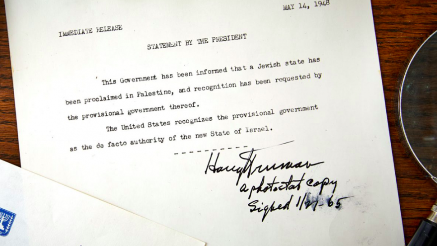 The exhibition copy of America's recognition of the Jewish state, 1948. Credit: Screenshot via the Raab Collection.