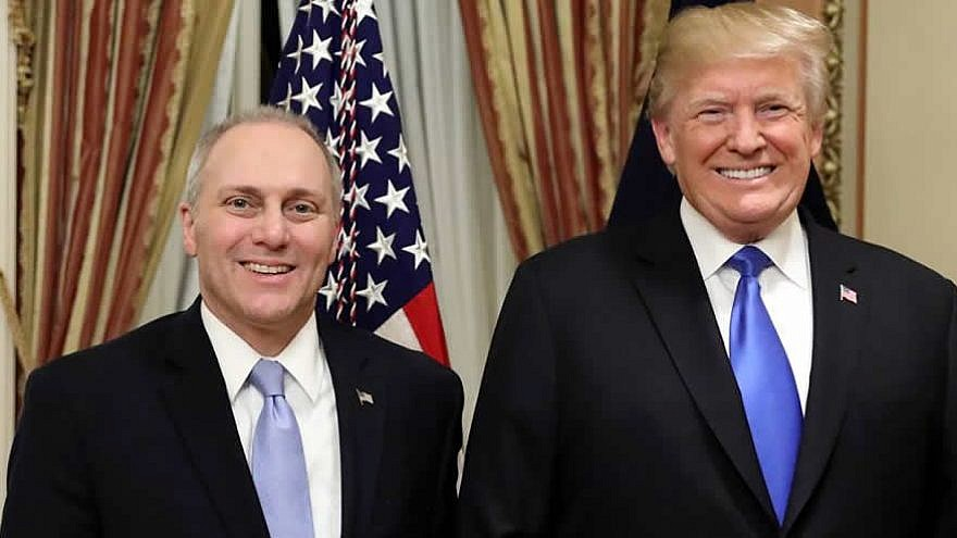 U.S. President Donald Trump with Congressman and House Majority Whip Steve Scalise, Jan. 30, 2018. Office of Congressman Steve Scalise.