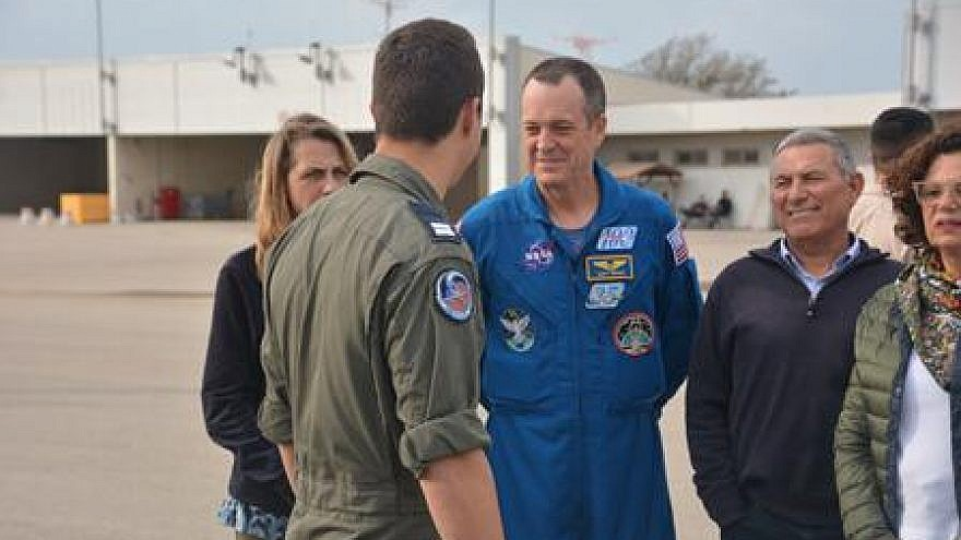 NASA astronaut Ricky Arnold visits the Palmachim Airbase in central Israel on April 4, 2019, is given a tour by a representative of the IAF's 200th UAV squadron. Credit: IDF.