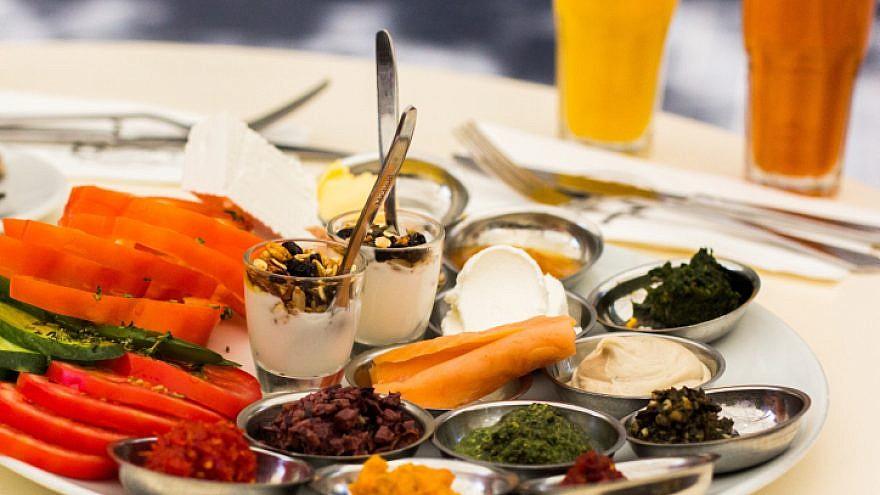 An Israeli breakfast at a cafe in the center of Jerusalem, Israel on July 26, 2015. Photo by Garrett Mills/Flash 90