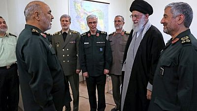 Ayatollah Khamenei (far right) promotes Hossein Salami (far left) to commander-in-chief of the Islamic Revolutionary Guard Corps on April 21, 2019, in the presence of Iran's military and IRGC leadership. (Iran press)