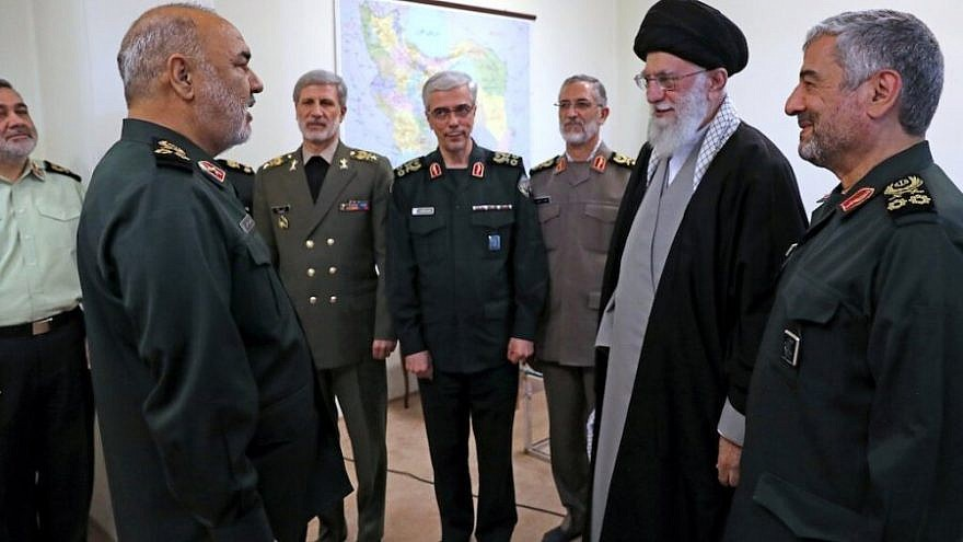 Iranian Supreme Leader Ayatollah Ali Khamenei (far right) promotes Hossein Salami (far left) to commander-in-chief of the Islamic Revolutionary Guard Corps on April 21, 2019, in the presence of Iran's military and IRGC leadership. Source: Iran Press.