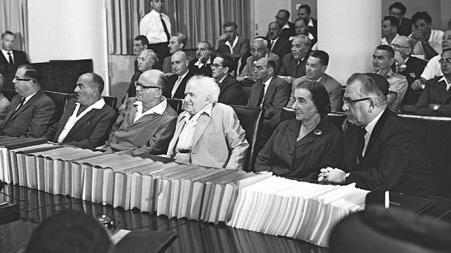 David Ben-Gurion, center, sits with other members of his Mapai-led government in 1961. Mapai was the forerunner of the Labor Party. (Fritz Cohen)