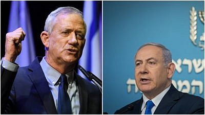 Benny Gantz, head of Blue and White Party (left) and Israeli Prime Minister Benjamin Netanyahu, head of the Likud Party. Credit: Gili Yaari /Flash90 and Noam Revkin Fenton/Flash90.