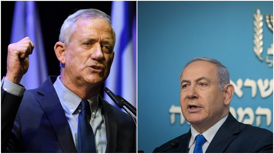 Blue and White Party leader Benny Gantz (left) and Israeli Prime Minister Benjamin Netanyahu. Credit: Gili Yaari and Noam Revkin Fenton, Flash90.