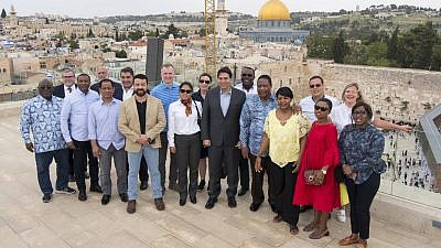 Israeli Ambassador to the United Nations Danny Danon took fellow ambassadors to the Aish World Center in Jerusalem. Credit: Aish HaTorah.