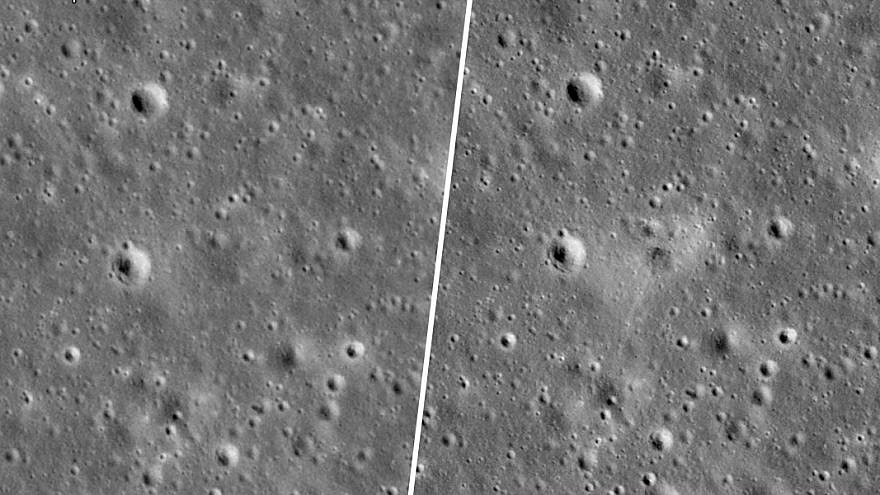 """NASA released photos of the crash area by SpaceIL's """"Beresheet"""" spacecraft, which failed to land on the moon on April 11, 2019. Credit: NASA/GSFC/Arizona State University."""