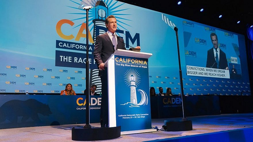 Gavin Newsom, who now serves as California's governor, speaking at the 2018 California Democratic Convention in San Diego. Credit: California Democratic Party via Facebook.