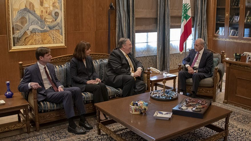 U.S. Secretary of State Mike Pompeo meets with Lebanese Speaker of Parliament Nabih Berri in Beirut on March 22, 2019. Credit: U.S. State Department.
