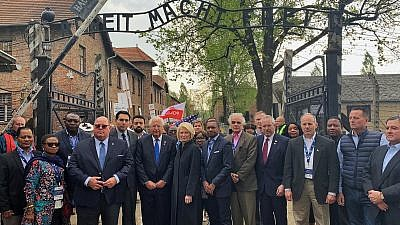 The delegation of U.N. ambassadors from Africa, Asia, the Pacific, Latin America and Eastern Europe taking part in the 2019 March of the Living in Poland on May 2, 2019. Credit: Permanent Mission of Israel to the United Nations.