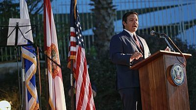 Florida Gov. Ron DeSantis addresses a crowd at the U.S. Embassy in Israel on May 28, 2019. Credit: Governor's Press Office.
