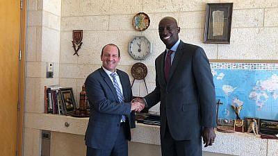 Wayne Messam with Reuven Azar, Israeli senior foreign-policy adviser to Israeli Prime Minister Benjamin Netanyahu. Credit: Messam via Twitter.
