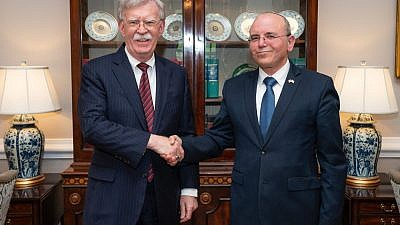 U.S. National Security Adviser John Bolton meets with his Israeli counterpart Meir Ben-Shabbat at the White House on April 15, 2019. Credit: John Bolton/Twitter.