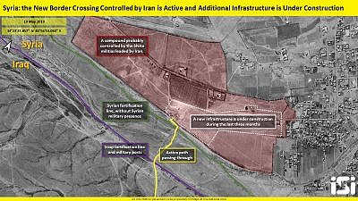 A view of Iranian construction along the Syrian-Iraqi border that would allow Iran to transfer weapons, armed personnel and oil into Syria. Credit: ImageSat International.