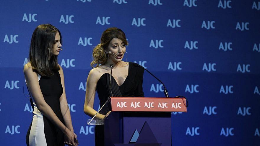 Former Miss Iraq Sarah Idan speaks at the 2018 American Jewish Committee Global Forum. Credit: American Jewish Committee.