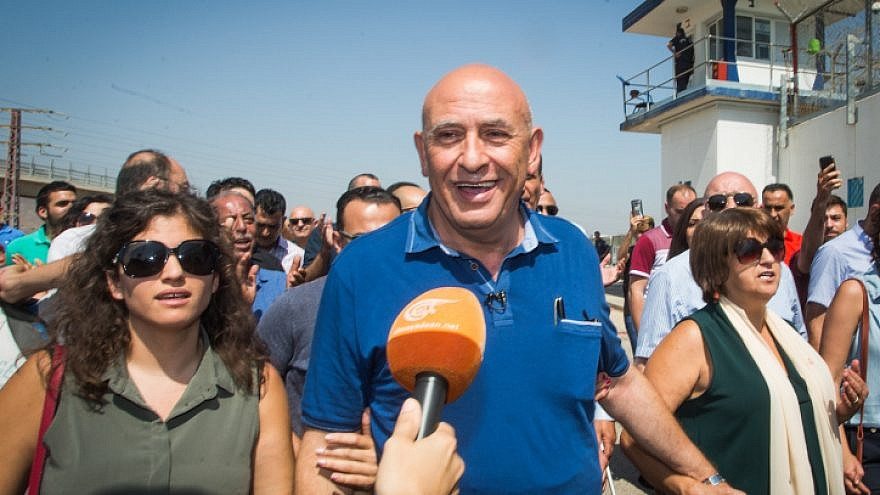 Former Israeli Knesset member Basel Ghattas arrives at Israel's Gilboa Prison to begin serving his two-year sentence, on July 2, 2017. Photo by Basel Awidat/Flash90.