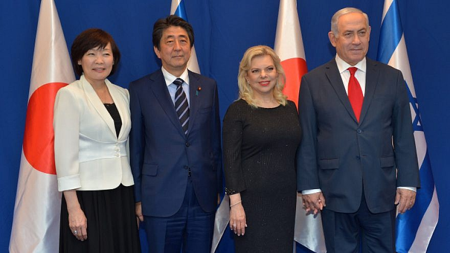 Israeli Prime Minister Benjamin Netanyahu and his wife, Sara, host a dinner for Japanese Prime Minister Shinzo Abe and his wife, Akie, at the PM's Residence in Jerusalem on May 2, 2018. Photo by Kobi Gideon/GPO.