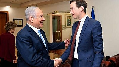 U.S. President Donald Trump's senior adviser and son-in-law Jared Kushner meets with Israeli Prime Minister Benjamin Netanyahu in Jerusalem on June 22, 2018. Credit: Matty Stern/U.S. Embassy Jerusalem/Flash90.