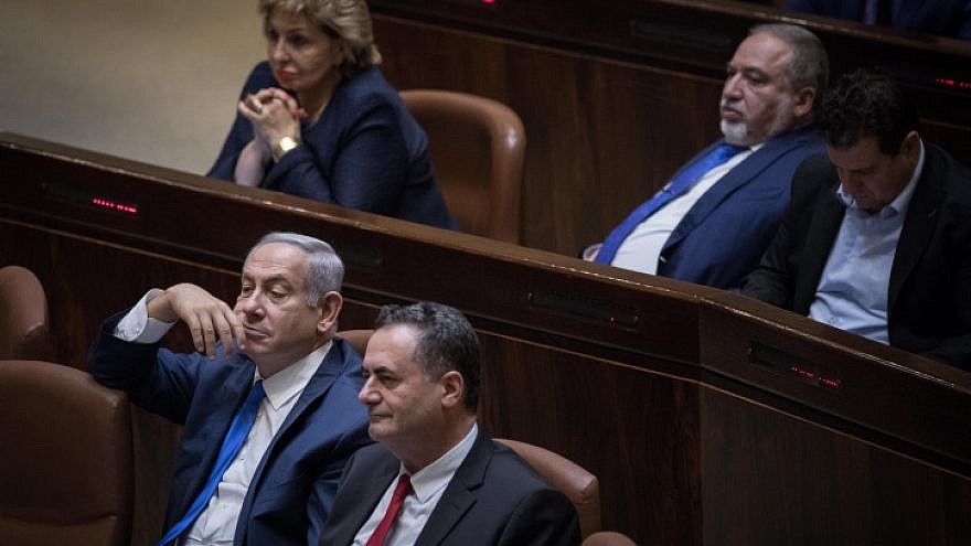 Israel Beitenu leader Avigdor Liberman (top center) and Israeli Prime Minister Benjamin Netanyahu (bottom left), seen at the Israeli Knesset on November 19, 2018. Photo by Hadas Parush/Flash90.