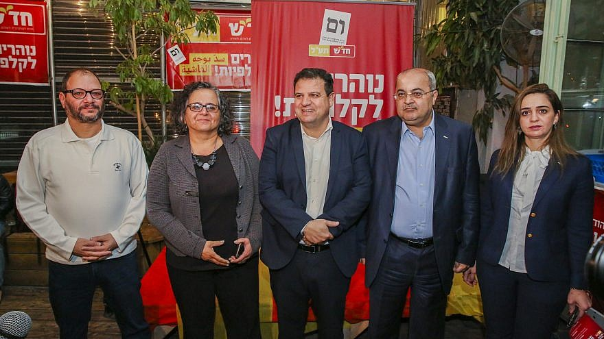 Aymam Udeh and Ahmad Tibi launch the campaign for their joint party Hadash-Ta'al, ahead of the Knesset elections, on March 13, 2019. Photo by Flash90.