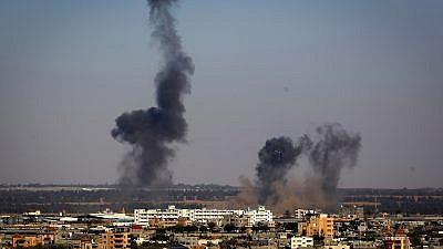 Smoke rises following an Israeli airstrike in Rafah in the southern Gaza Strip on May 4, 2019. Credit: Abed Rahim Khatib/Flash90.