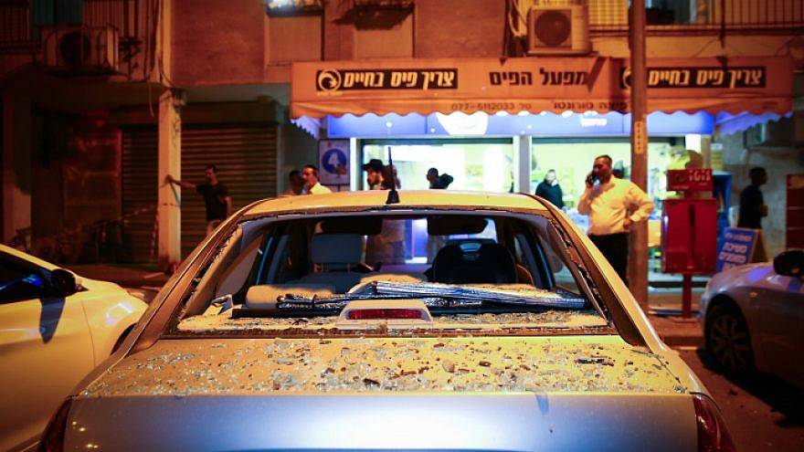The scene where a 21-year-old man was killed by shrapnel when a rocket fired from the Gaza Strip hit an apartment building in the city of Ashdod on May 5, 2019. Photo by Flash90.