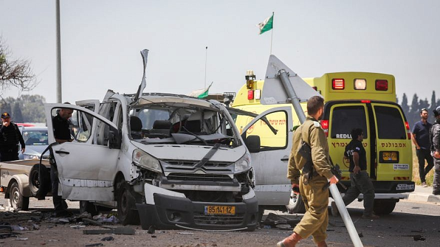 The scene where a car was hit by a rocket fired from the Gaza Strip near the Israeli border on May 5, 2019. Photo by Noam Rivkin Fenton/Flash90.