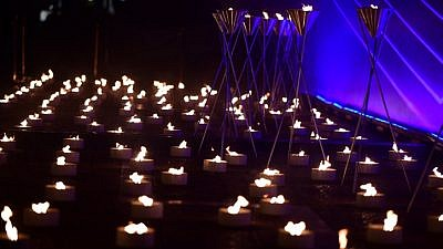 Memorial candles during the ceremony marking Israel's Remembrance Day at Rabin Square in Tel Aviv on May 7, 2019. Photo by Tomer Neuberg/Flash90.