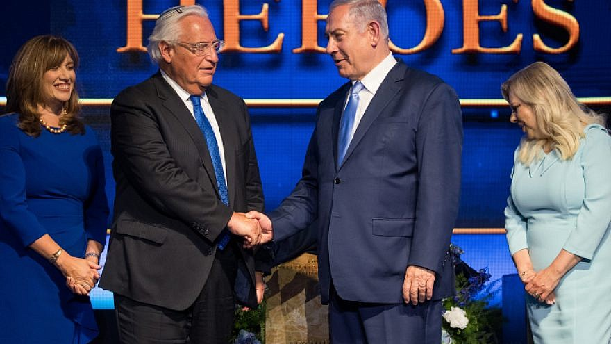 US Ambassador to Israel David Friedman and Prime Minister Benjamin Netanyahu at an event marking one year since the transfer of the US Embassy from Tel Aviv to Jerusalem and announcing the moving of the Ambassador's official residence to Jerusalem, on May 14, 2019. Photo by Yonatan Sindel/Flash90.