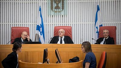 Supreme Court Justice Hanan Melcer (C) sits at the Supreme Court in Jerusalem during a court hearing in a petition asking to allow Jews to visit the Temple Mount compound during Jerusalem Day, May 16, 2019. Photo by Yonatan Sindel/Flash90.
