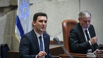 Blue and White Party Knesset member Eitan Ginsburg, one of five openly gay Israeli MKs, speaks at the Knesset plenum on May 20, 2019. Photo by Noam Revkin Fenton/Flash90.