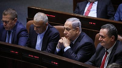 Israeli Prime Minister Benjamin Netanyahu at the Knesset Plenum Hall during a discussion to cancel the 2013 law limiting the number of ministers, May 20, 2019. Photo by Noam Revkin Fenton/Flash90.
