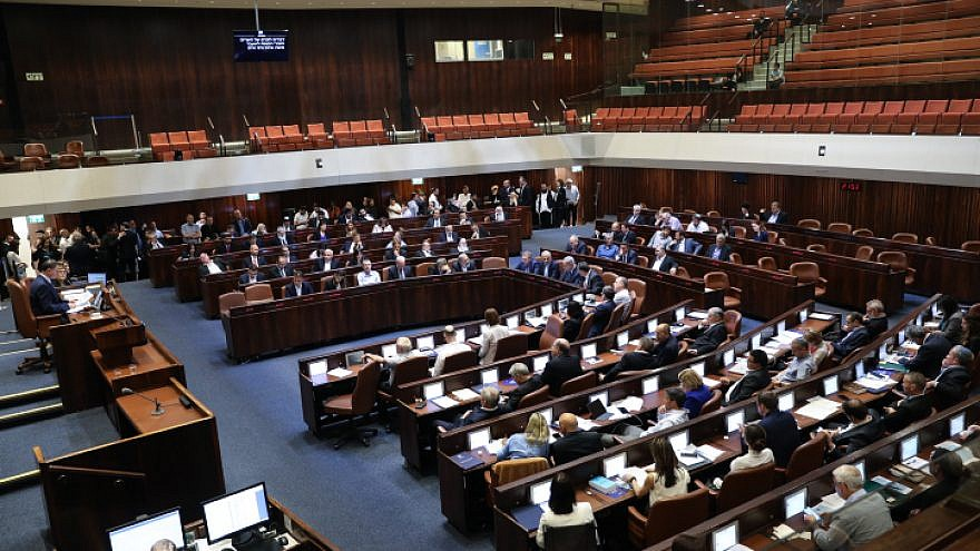 The Plenum Hall at the Knesset, during a discussion to cancel the 2013 law limiting the number of ministers on May 20, 2019. Photo by Noam Revkin Fenton/Flash90.