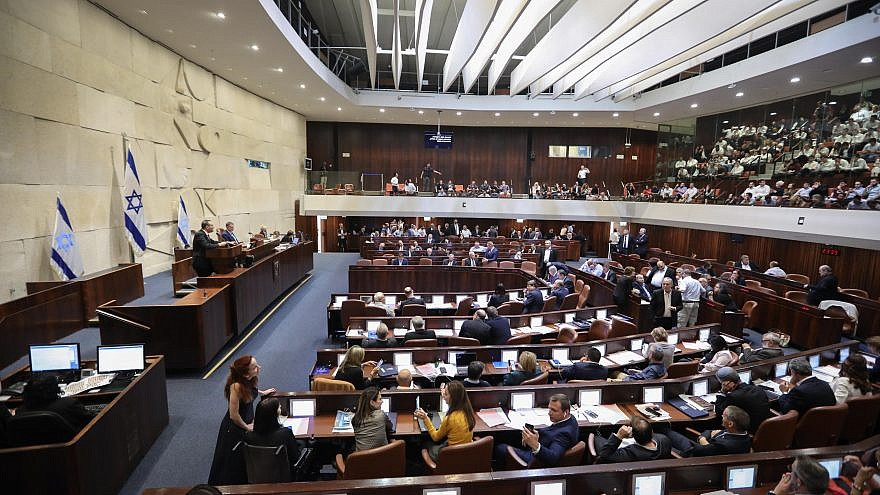 General view of the parliament during a discussion on a bill to dissolve the parliament, at the Knesset, in Jerusalem on May 29, 2019. Credit: Yonatan Sindel/Flash90