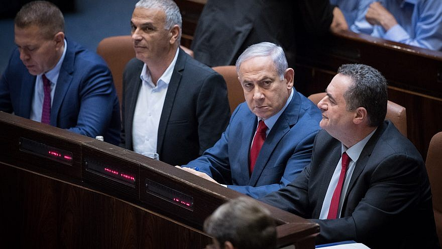 Israeli Prime Minister Benjamin Netanyahu with Israeli parliament members during a vote on a bill to dissolve the current Knesset in Jerusalem, May 29, 2019. Credit: Yonatan Sindel/Flash90.