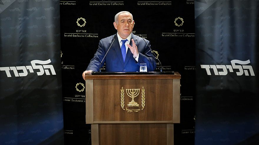 Israeli Prime Minister Benjamin Netanyahu delivers a statement to the media on May 30, 2019. Credit: Noam Revkin Fenton/Flash90.