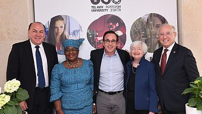 From left: Axel Weber, chair of the UBS Group and former president of Germany's Deutsche Bundesbank; Ngozi Okonjo-Iweala, former Nigerian minister of finance and former managing director of the World Bank; Eric Gertler, trustee of the Zuckerman Institute and Zuckerman Family Foundation, and a founding supporter of the Frenkel-Zuckerman Institute; Janet Yellen, former chair of the U.S. Federal Reserve; and Jacob Frenkel, chair of JPMorgan Chase International and former governor of the Bank of Israel, at the inauguration of the Frenkel-Zuckerman Institute for Global Economics, May 2019. Credit: Tel Aviv University.