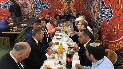 Palestinian businessman Sheikh Ashraf Al Jabari, co-founder of the Judea and Samaria Chamber of Commerce, hosting a kosher Iftar with Jewish neighbors near Hebron, May 2019. Credit: Facebook.