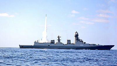 An Indian Naval ship testing Israel's Barak-8 air-defense system. Credit: Indian Navy.