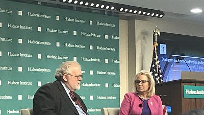 Rep. Liz Cheney (R-Wyo.), chair of the House Republican Conference, discusses foreign policy with global-affairs scholar Walter Russell Mead at the Hudson Institute in Washington, D.C., on May 14, 2019. Photo by Jackson Richman/JNS.