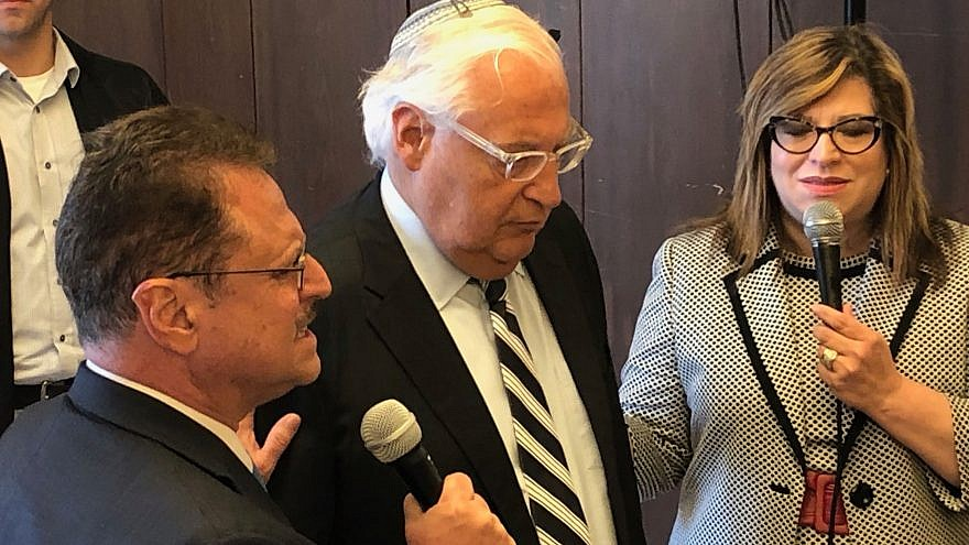 U.S. Ambassador to Israel David Friedman (center) next to Pastor Mario Bramnick (bottom left), president of Latino Coalition for Israel, at the Aish Hatorah World Center in Jerusalem on May 15, 2019. Credit: Courtesy.