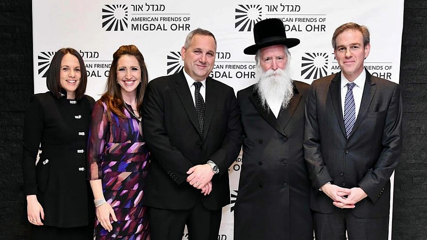 From left: Political consultant Rivka Kidron; executive director of Migdal Or Atara Solow; deputy head of mission at Israel's Embassy in Washington Benjamin Krasna; dean and founder of Migdal Ohr Rabbi Yitzchak Dovid Grossman; and New York Times columnist Bret Stephens. Courtesy: American Friends of Migdal Ohr.
