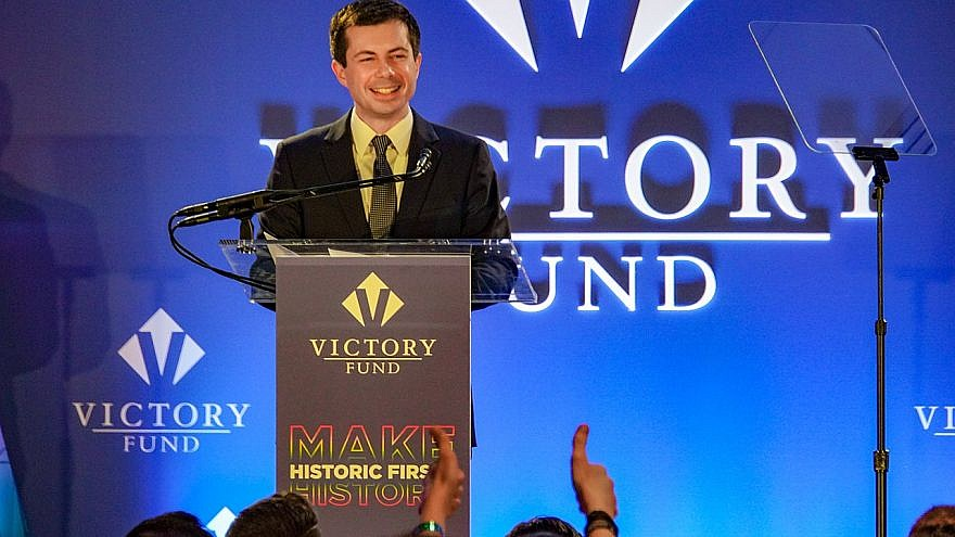 Mayor Pete Buttigieg addresses a Victory Fund National Champagne Brunch, Washington, DC, on April 7, 2019. Photo by Ted Eytan/Wikimedia Commons. Creative Commons License.