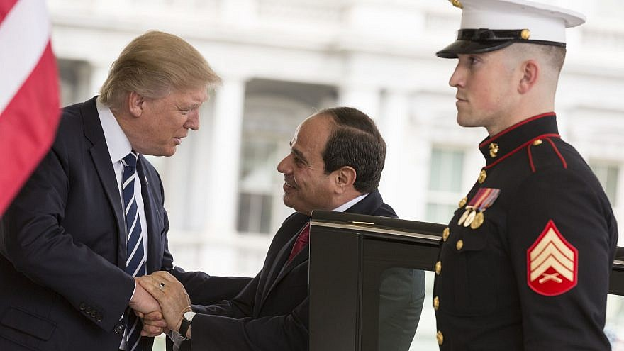 U.S. President Donald Trump welcomes Egyptian President Abdel Fattah el-Sisi on April 3, 2017, at the West Wing entrance of the White House in Washington, D.C. Credit: Official White House Photo by Shealah Craighead.